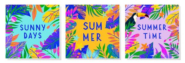 Conjunto de ilustraciones de verano con hojas tropicales, tucán y flores.