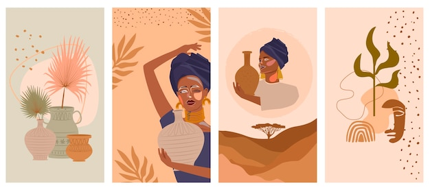 Conjunto de ilustraciones verticales abstractas con mujer africana en turbante, jarrón de cerámica y jarras, plantas