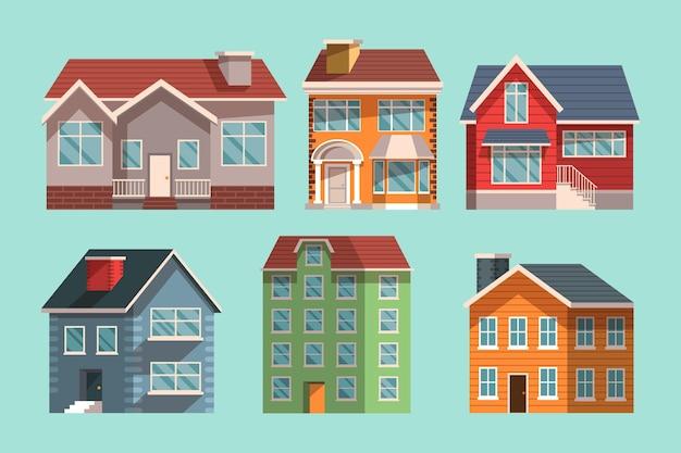 Conjunto ilustrado de casas modernas.