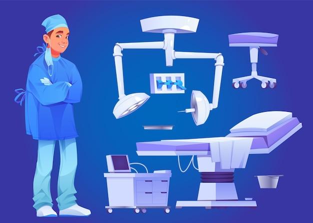 Conjunto ilustrado de elementos quirúrgicos.