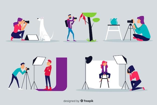 Conjunto ilustrado de fotógrafos trabajando