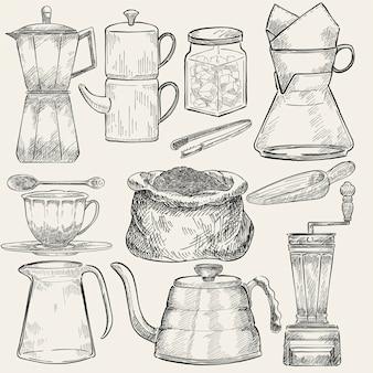 Conjunto ilustrado de herramientas para hacer café