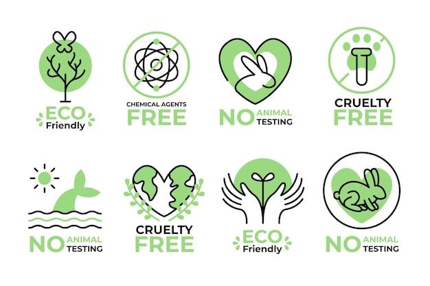 Conjunto ilustrado de insignias libres de crueldad