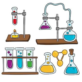 Conjunto ilustrado de objetos de laboratorio de ciencias