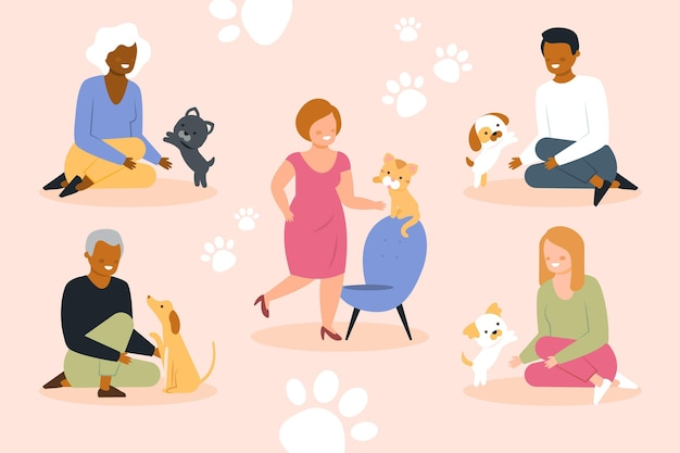 Conjunto ilustrado de personas con mascotas.