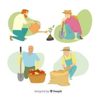 Conjunto ilustrado de trabajadores agrícolas de diseño plano