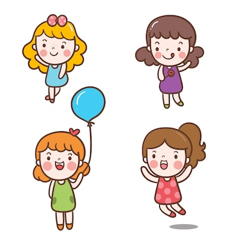 Conjunto ilustrador de personaje de niña