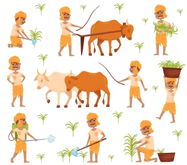 Conjunto de imágenes de un agricultor en varios trabajos con ropa tradicional india