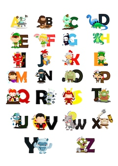 Conjunto de imágenes del alfabeto de caracteres