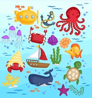 Conjunto de imágenes de animales marinos