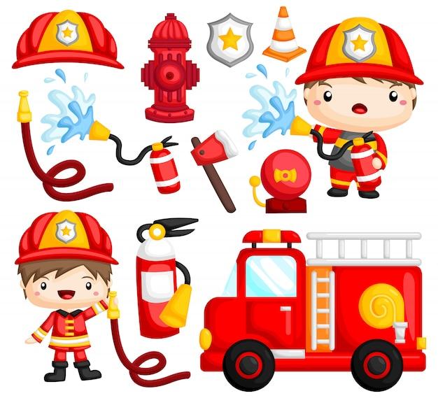Conjunto de imágenes de bombero