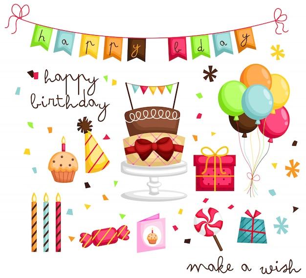 Conjunto de imágenes de cumpleaños