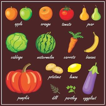 Conjunto de imágenes de frutas y verduras.