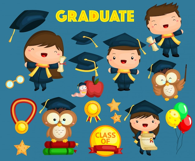 Conjunto de imágenes de graduación