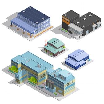 Conjunto de imágenes isométricas de warehouse de fábrica