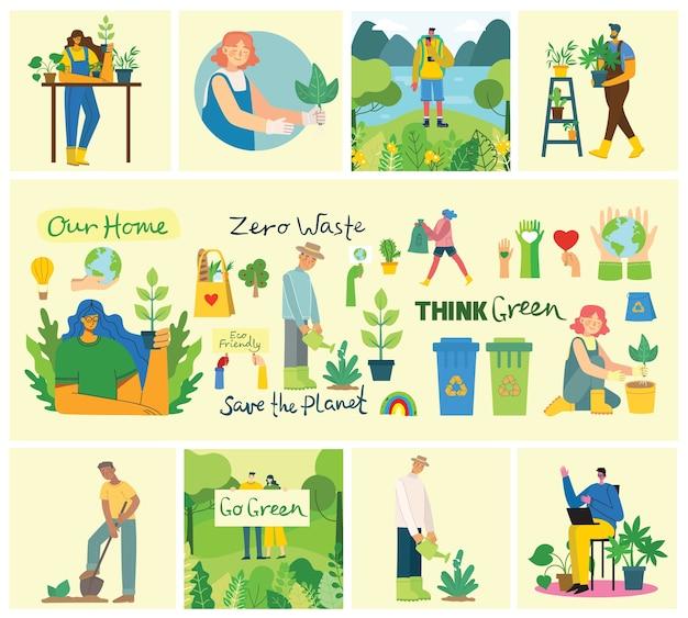 Conjunto de imágenes del medio ambiente de ahorro ecológico. personas que cuidan del collage del planeta. cero desperdicio, piense en verde, salve el planeta, nuestro texto escrito a mano en casa en el moderno diseño plano
