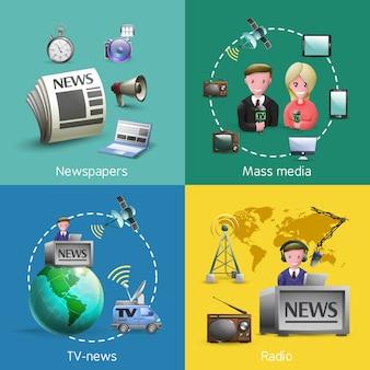 Conjunto de imágenes de los medios de comunicación