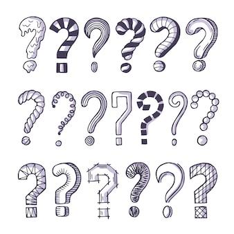 Conjunto de imágenes monocromo de signos de interrogación.