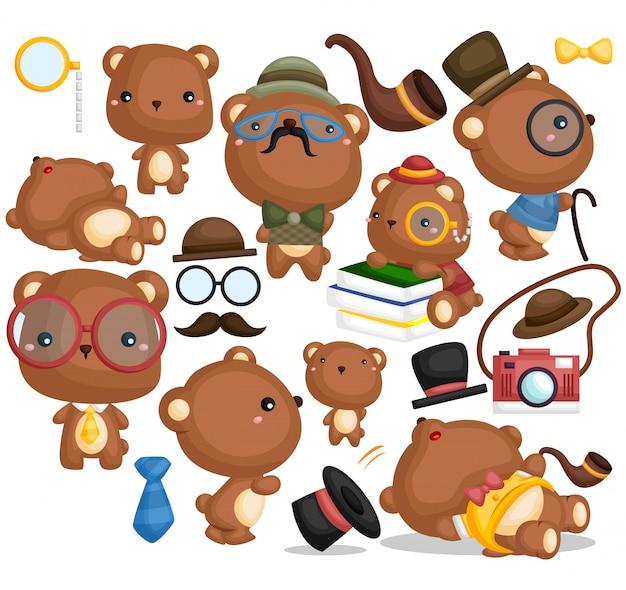 Conjunto de imágenes de oso con estilo