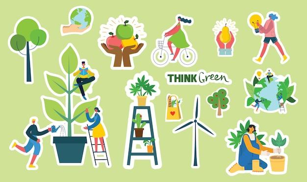 Conjunto de imágenes de pegatinas de medio ambiente ecológico.