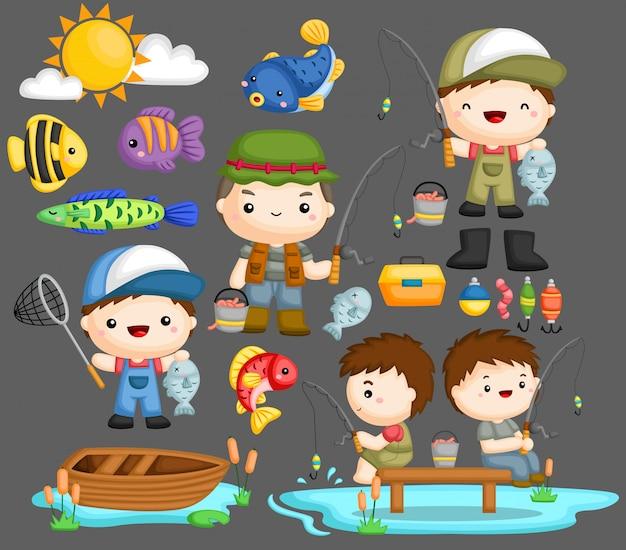 Conjunto de imágenes de pescador