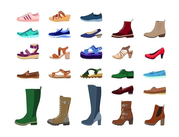 Conjunto de imágenes planas de calzado femenino creativo.