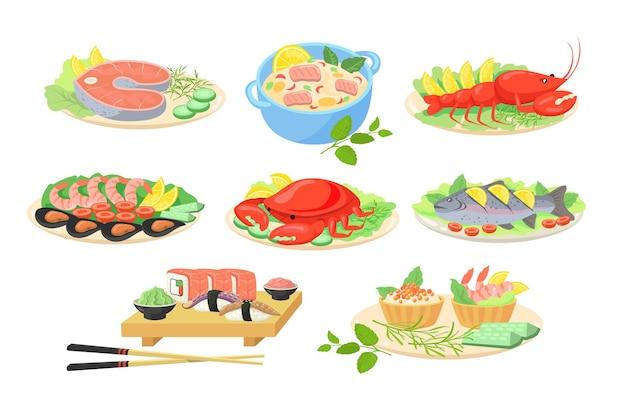 Conjunto de imágenes planas de platos de mariscos festivos creativos.