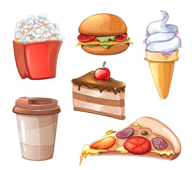 Conjunto de imágenes prediseñadas de comida rápida de dibujos animados. hamburguesa hamburguesa y pizza, sándwich y comida rápida, papa frita, palomitas de maíz y café