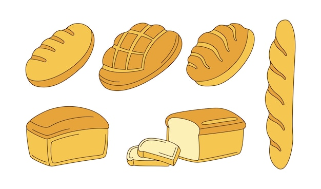 Conjunto de imágenes prediseñadas de dibujos animados de panadería. pan de centeno, pan integral y pan de trigo y baguette francés, croquis ciabatta