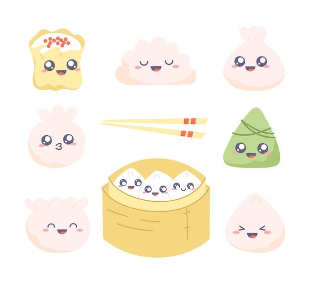 Conjunto de imágenes prediseñadas de dim sum. colección de dibujos kawaii con lindas bolas de masa hervida.