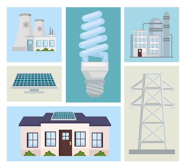Conjunto de imágenes prediseñadas de energía alternativa