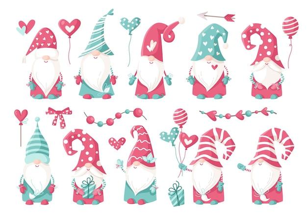 Conjunto de imágenes prediseñadas de gnomo de dibujos animados de san valentín - lindo día de san valentín gnomos o enanos con globos, corazones aislados