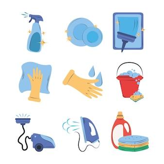 Conjunto de imágenes prediseñadas de limpieza platos en aerosol cubo lavandería plancha aspiradora suministros equipo