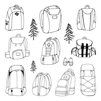 Conjunto de imágenes prediseñadas de mochilas de camping de vector dibujado a mano grande diseño de viaje