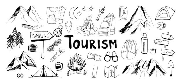 Conjunto de imágenes prediseñadas de montaña y camping de vector dibujado a mano enorme diseño de viaje