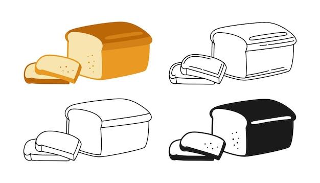 Conjunto de imágenes prediseñadas de panadería en rodajas de pan