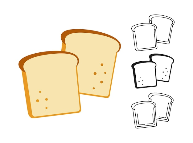 Conjunto de imágenes prediseñadas de rebanada de pan
