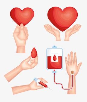 Conjunto de imágenes prediseñadas de sangre de cinco donantes