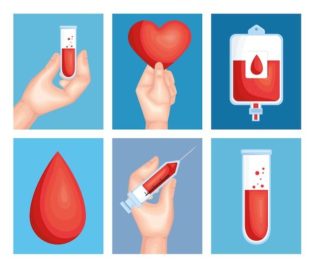 Conjunto de imágenes prediseñadas de sangre de seis donantes