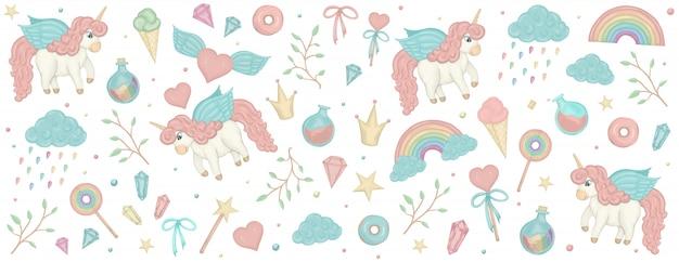 Conjunto con imágenes prediseñadas de unicornio. banner horizontal con lindo arco iris, corona, estrella, nube.