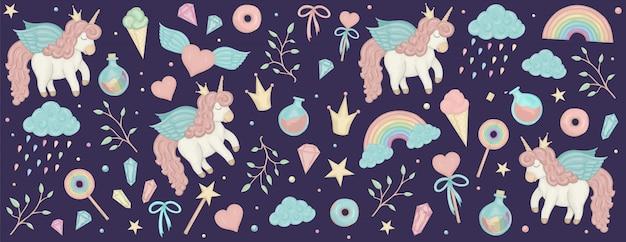 Conjunto con imágenes prediseñadas de unicornio. banner horizontal con lindo arco iris, cristales.