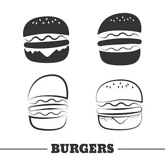 Conjunto de imágenes prediseñadas de vector de hamburguesa