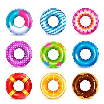 Conjunto de imágenes realistas de anillos de natación de goma inflable de color aislado con patrón de colores sobre fondo blanco