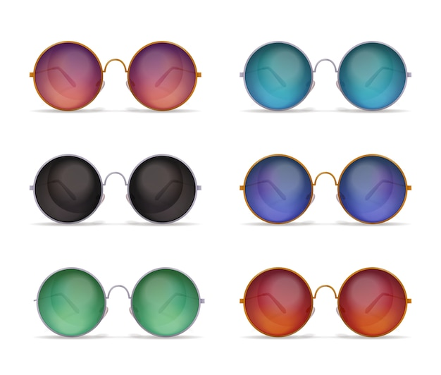 Conjunto de imágenes realistas de gafas de sol aisladas con seis modelos diferentes de coloridas gafas de sol redondas