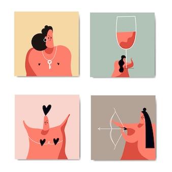 Conjunto de imágenes de romance y amor.