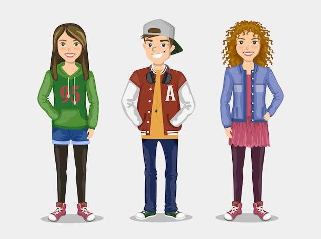 Conjunto de imágenes de tres adolescentes con ropa elegante.