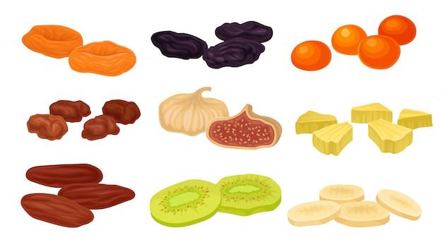 Conjunto de imágenes de varias frutas secas. ciruelas pasas, higos, albaricoques secos, albaricoques, kiwi.
