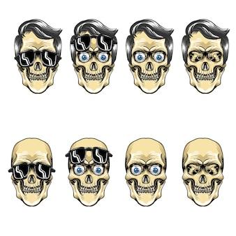 Conjunto de impresión de arte gráfico cabeza de calavera