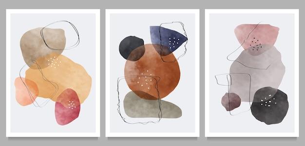 Conjunto de impresión de arte minimalista moderno de mediados de siglo.