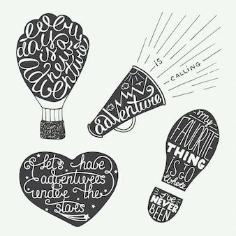 Conjunto de impresiones de letras de aventura y carteles.